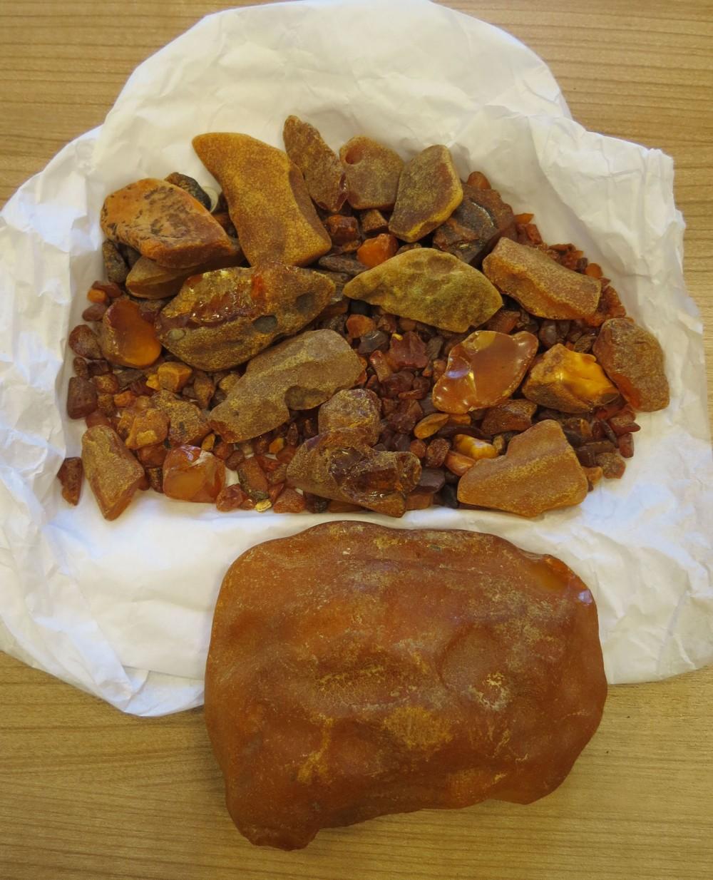Gintaro gabalai iš Palangos nuo visai smulkių iki didelio gabalo, kurio dydis 11,5 cm x 8 cm