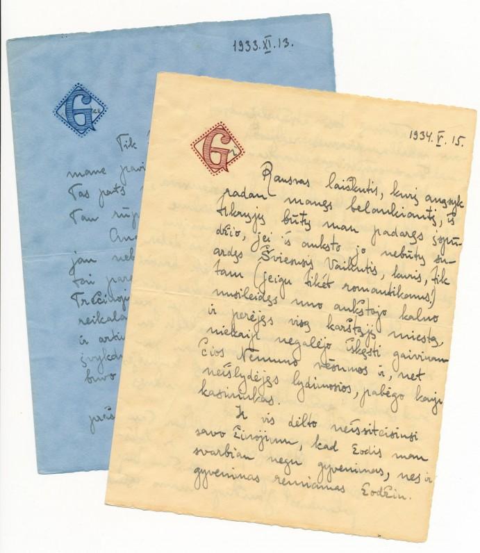 Gražinos Tulauskaitės laiškų Benediktui Babrauskui pavyzdžiai