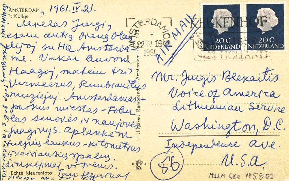 H. Radausko atvirlaiškis J. Blekaičiui iš Amsterdamo. 1961 m.