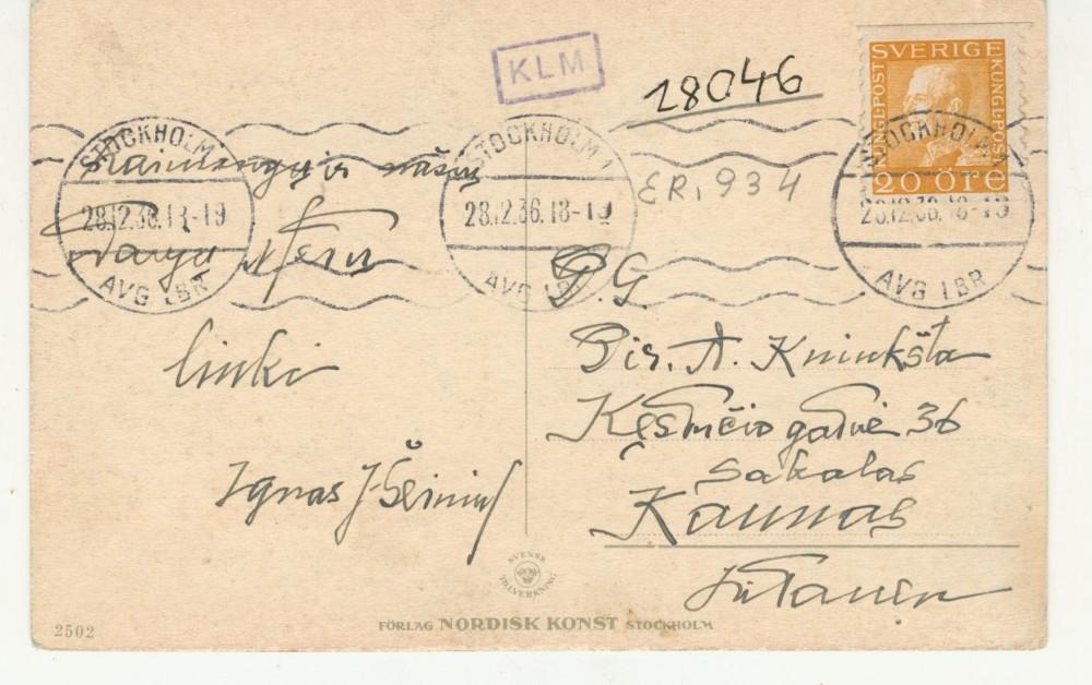 """I. Šeiniaus naujametinis sveikinimo atvirukas """"Sakalo"""" leidyklos direktoriui A. Kniūkštai. 1936 m. gruodžio 28 d."""