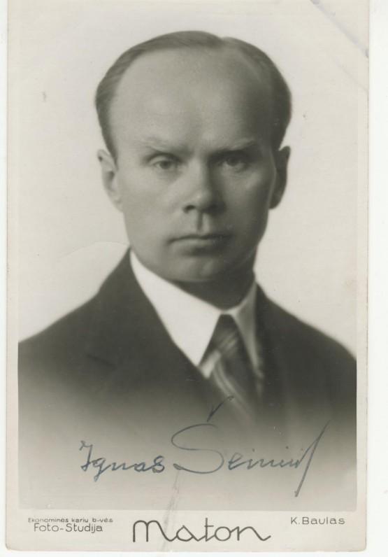 I. Šeiniaus portretas su autografu. K. Baulo nuotrauka. Kaunas. Apie 1933 m.