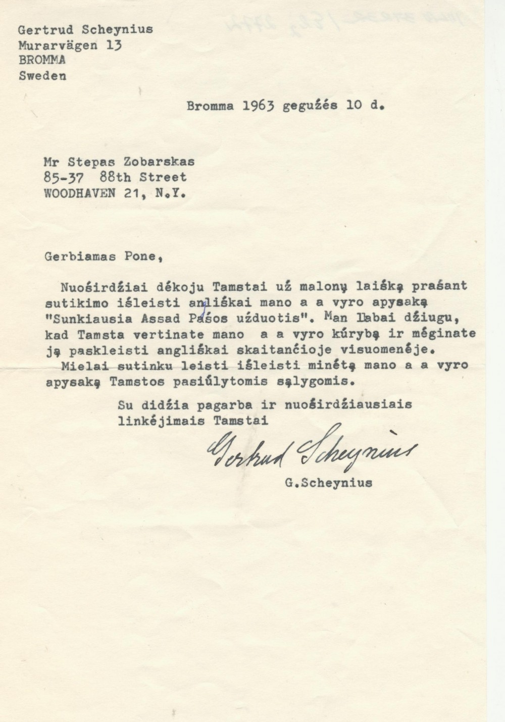 I. Šeiniaus žmonos Gertrūdos laiškas leidėjui S. Zobarskui. 1963 m. gegužės 10 d.