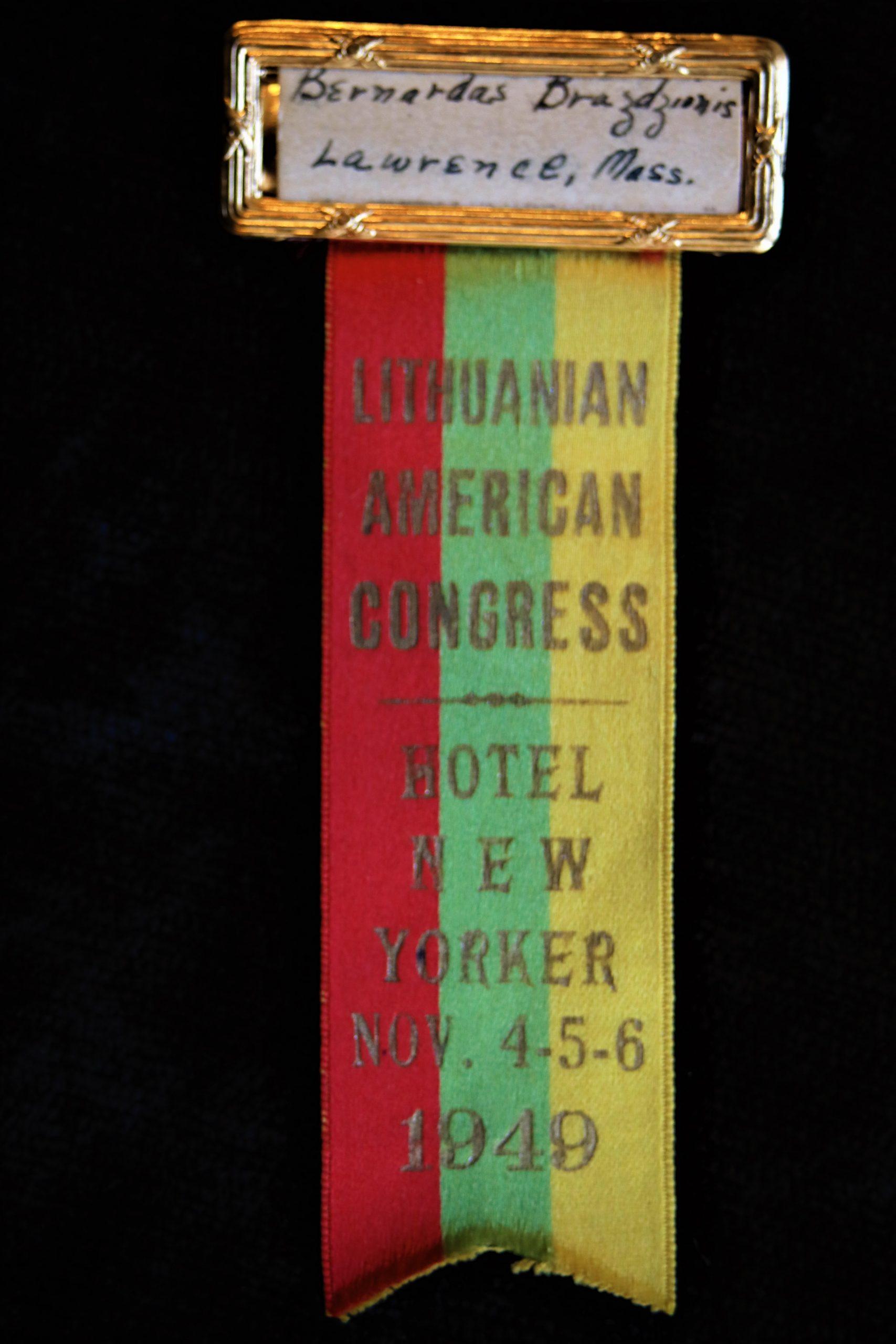 Amerikos lietuvių kongreso dalyvio ženklelis. 1949 m.