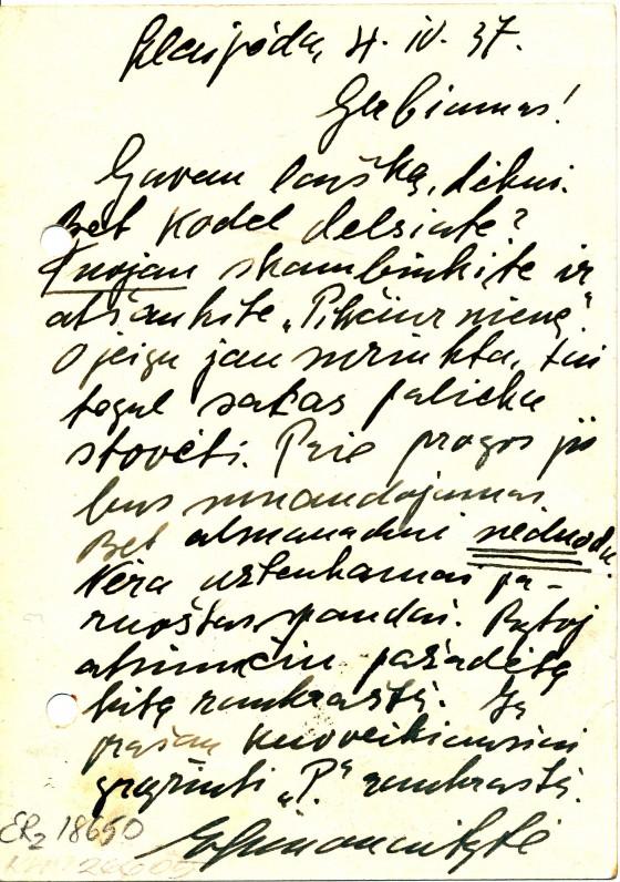 Ievos Simonaitytės atvirlaiškis Stasiui Anglickiui