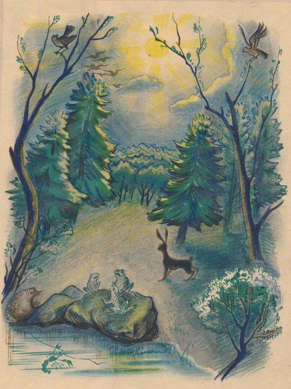 """Iliustracija K. Donelaičio """"Pavasario linksmybėms"""". Dail. D. Tarabildienė. 1949 m."""