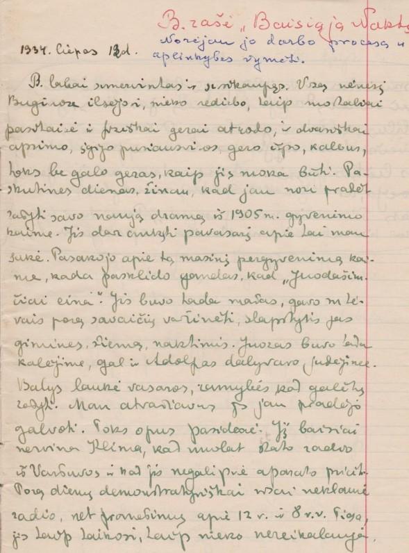 Iš V. Sruogienės dienoraščio. Būgiai. 1934 m. vasara
