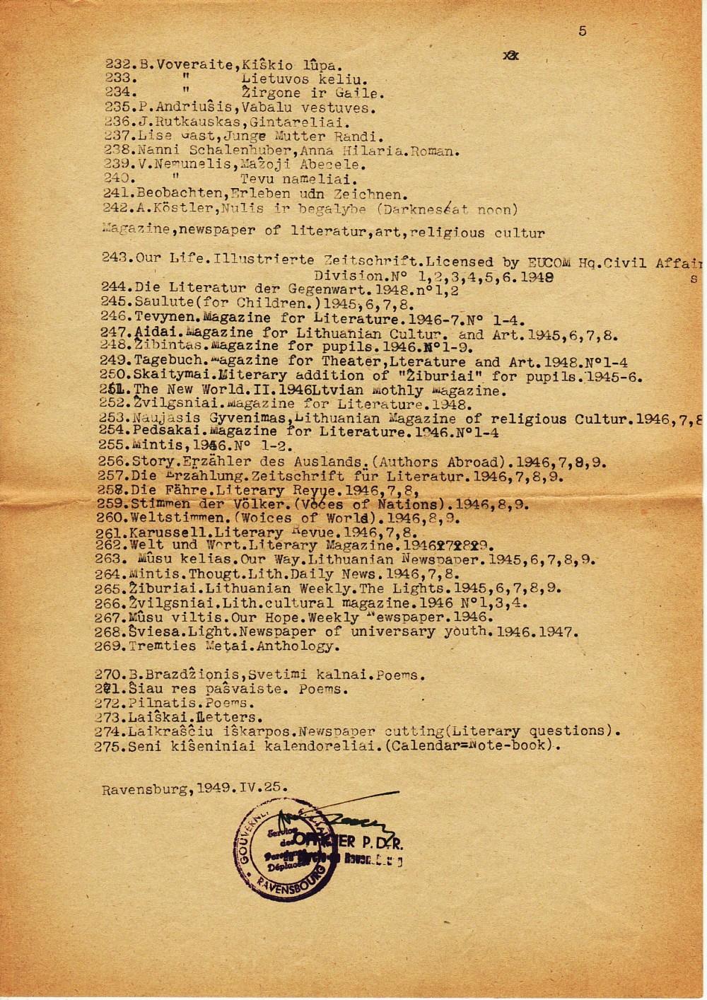 Iš Vokietijos į JAV išvežamų knygų sąrašai…