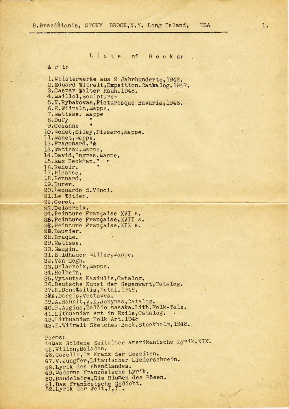 Iš Vokietijos į JAV išvežamų knygų sąrašai