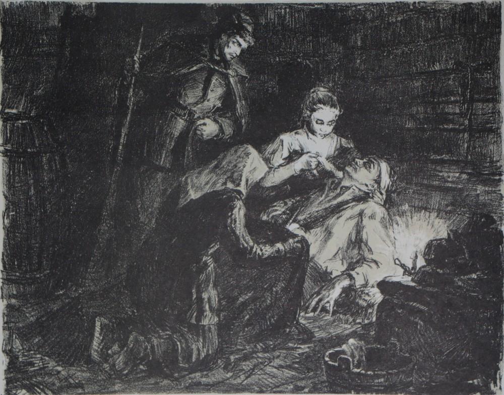 """Iš ciklo """"Žemaitė"""". Būsimoji rašytoja pas sukilėlius. Dail. Aldona Skirutytė. Julija kartu su pusseserėmis ir dėdiene Albertina rėmė 1863 m. sukilimo dalyvius"""