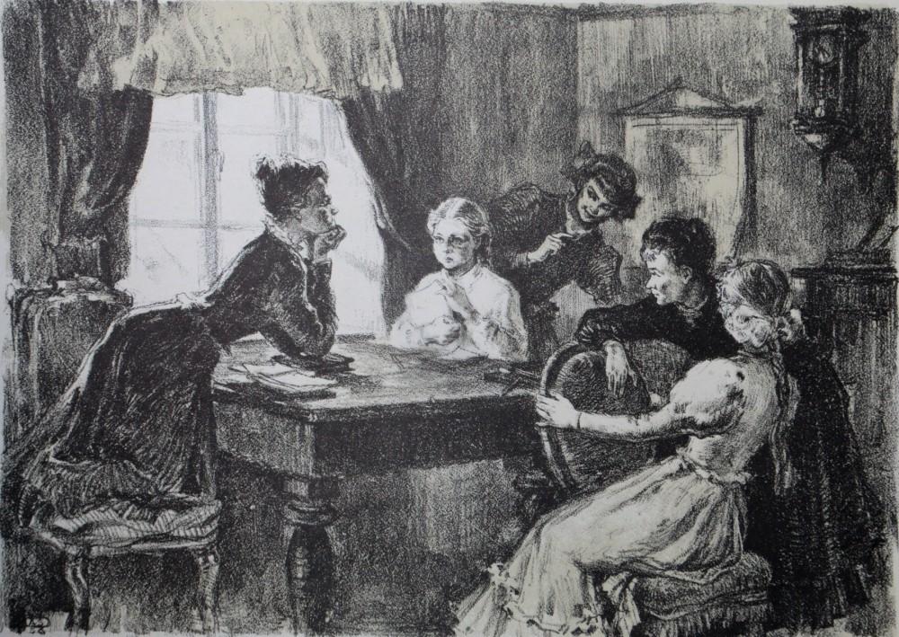 """Iš ciklo """"Žemaitė"""". Julija Beniuševičiūtė mokosi pas dėdiną. Prieš pirmąją pamoką. Dail. Aldona Skirutytė"""