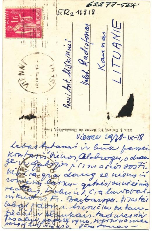 J. Aisčio atvirlaiškis A. Miškiniui iš Vienos. 1938 m., 2