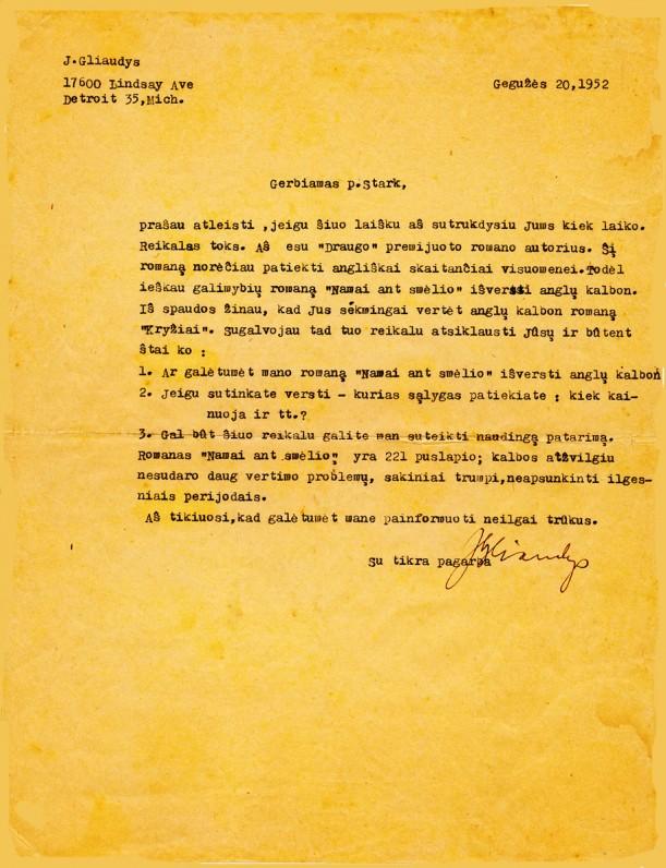 J. Gliaudos laiškas M. Starkui
