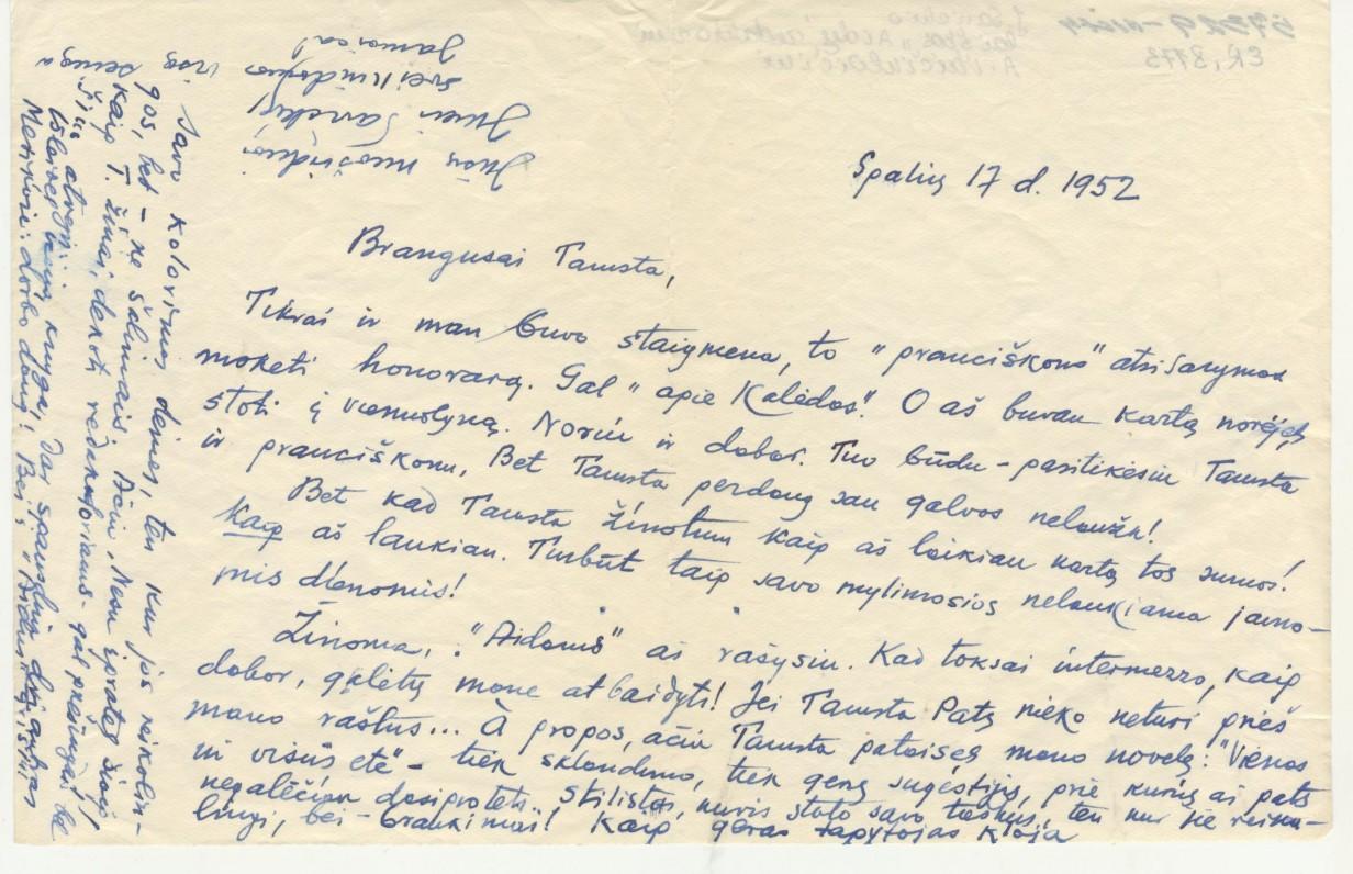 """J. Savickio laiškas """"Aidų"""" redaktoriui A. Vaičiulaičiui. 1952 m. spalio 17 d."""