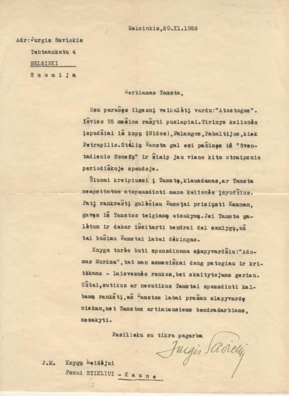 J. Savickio laiškas leidėjui P. Stikliui. 1926 m. lapkričio 20 d.