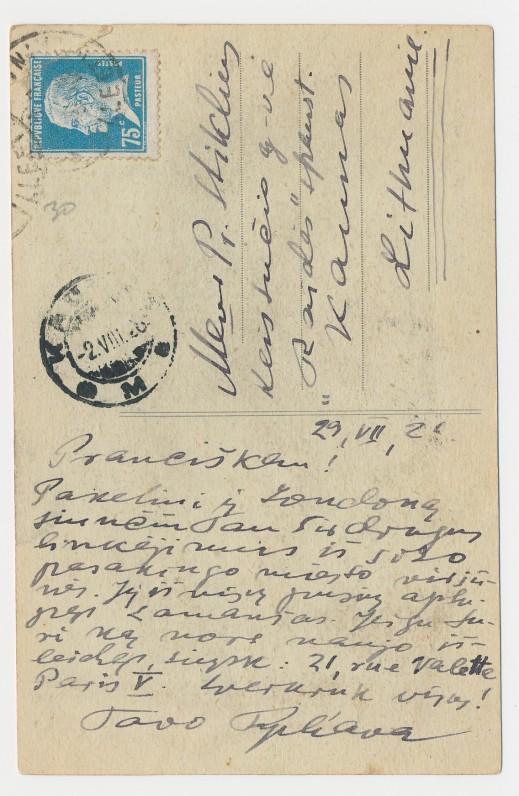 J. Tysliavos atvirlaiškis Pranciškui Stikliui nuo Sen Mišelio kalno. 1926 m., 2