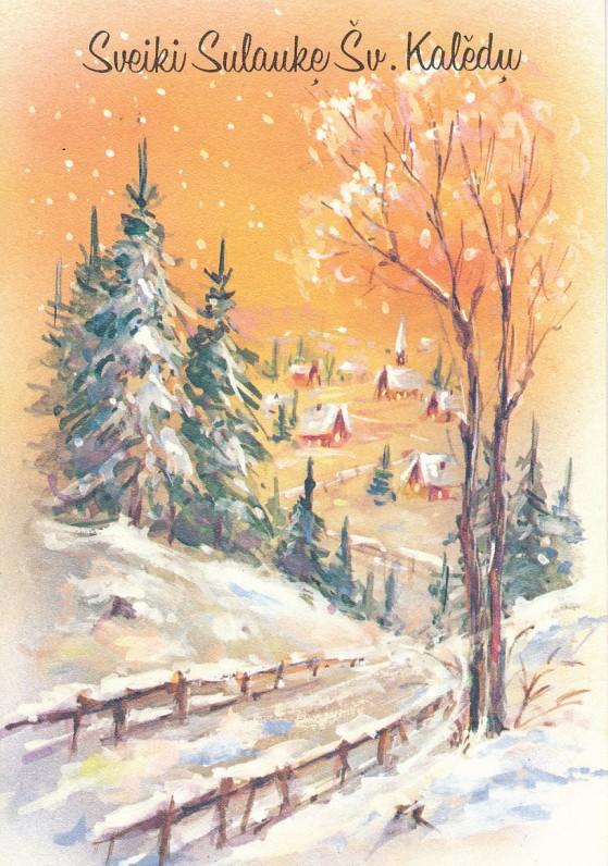 J. ir V. Balčiūnų Kalėdų ir Naujųjų metų sveikinimas A. ir S. Santvarams. JAV, 1977 m.