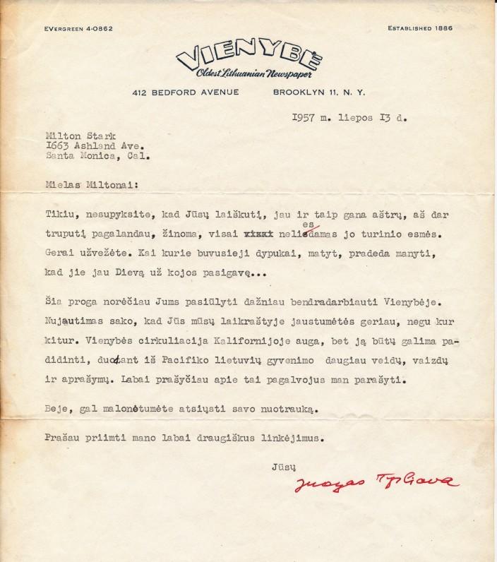 Juozo Tysliavos laiškas M. Starkui