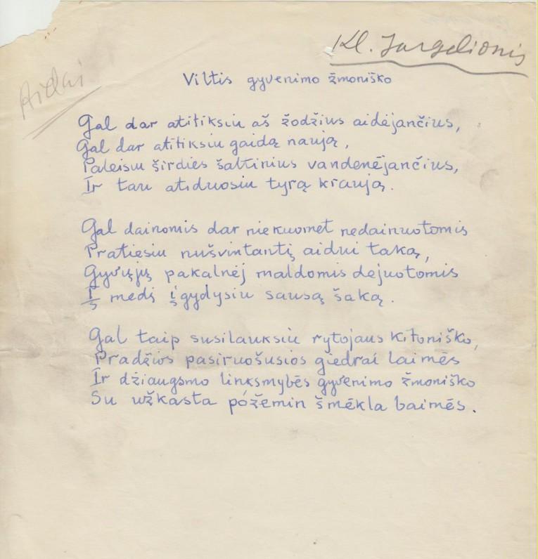 K. Jurgelionio eilėraštis
