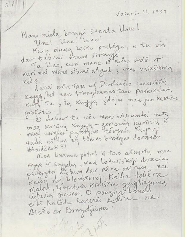 K. Jurgelionio laiškas U. Babickaitei. 1959 02 11. Kopija