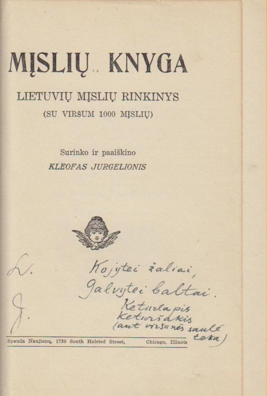 """K. Jurgelionio sudaryta """"Mįslių knyga"""" su jo autografu. 1911 m."""