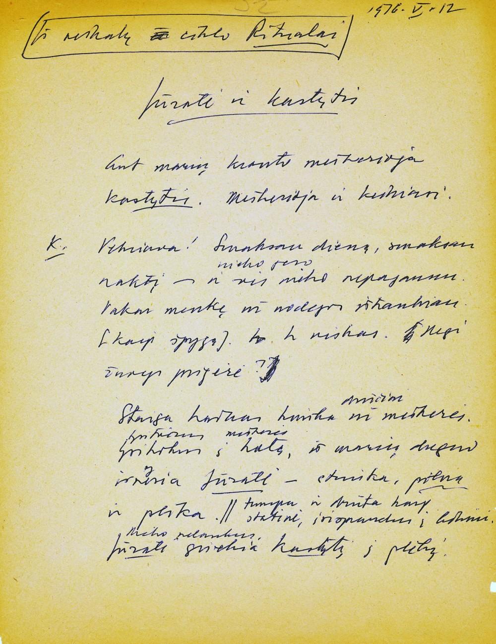 K. Ostrausko rankraštis