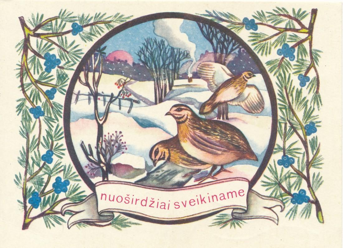 K. Sajos Kalėdų ir Naujųjų metų sveikinimas Sukovskiams. 1972 m.