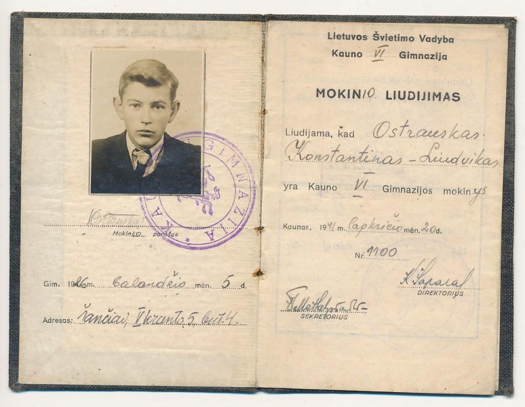 Kauno VI-osios gimnazijos mokinio liudijimas