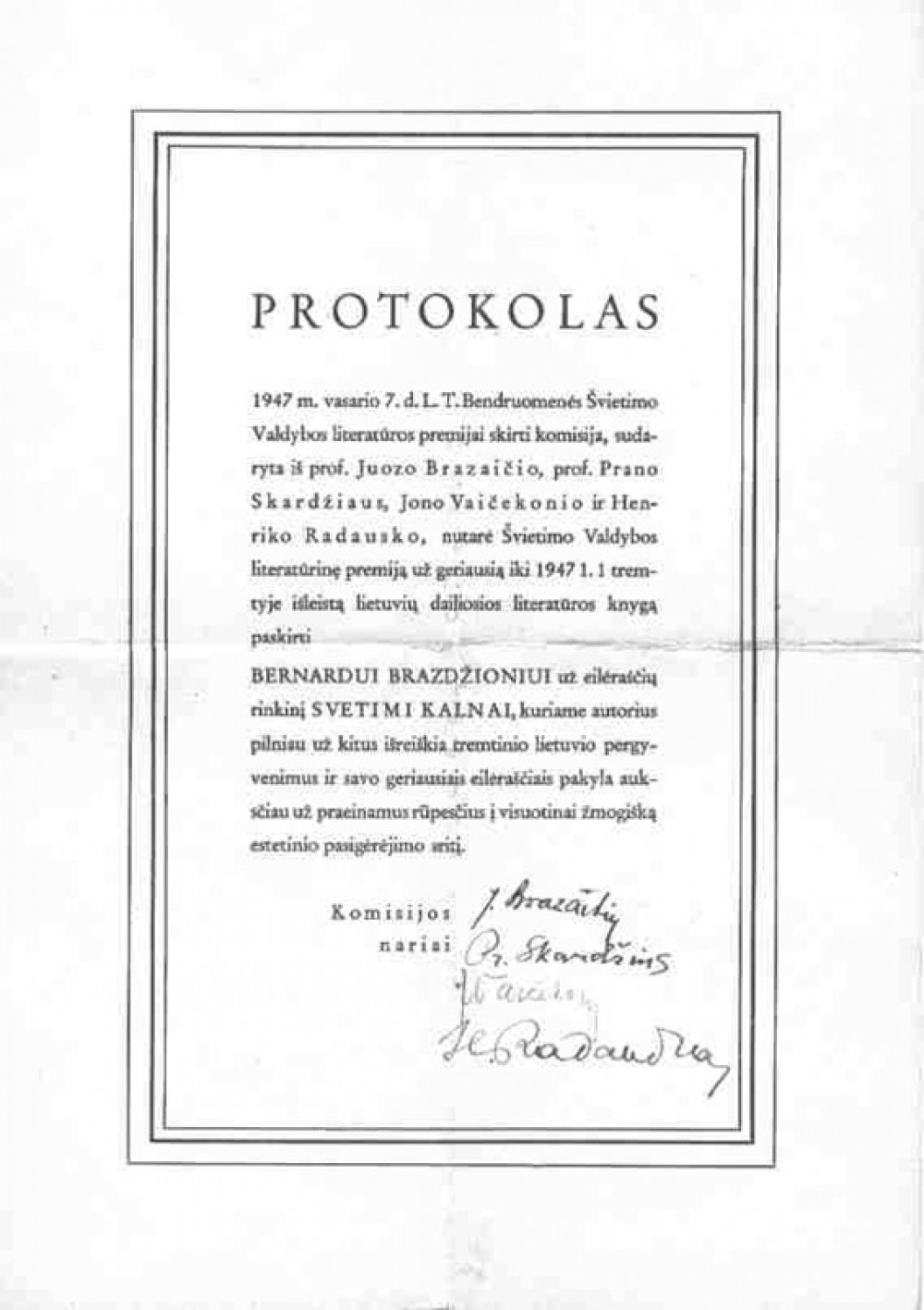 """Knygos """"Svetimi kalnai"""" apdovanojimo Švietimo valdybos premija protokolas"""