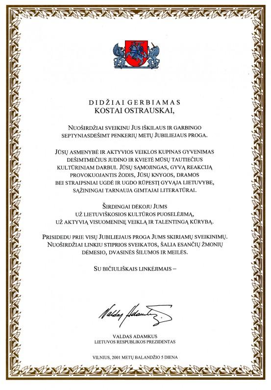LR Prezidento Valdo Adamkaus sveikinimas