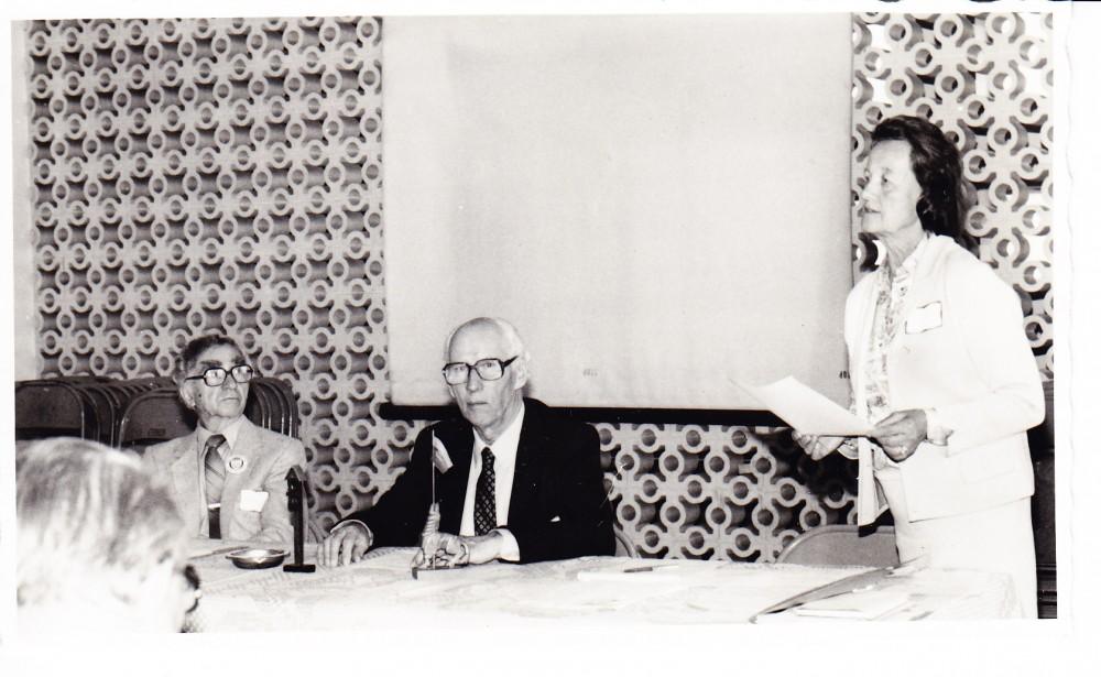 LRD suvažiavimas Klivlande. B. Brazdžionis, S. Santvaras, Alė Rūta. 1982 m.
