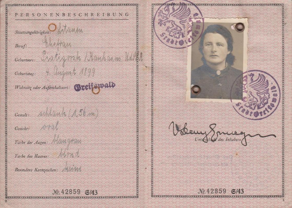 Laikinas svetimšalio pasas. Vokietija. 1944 11 14