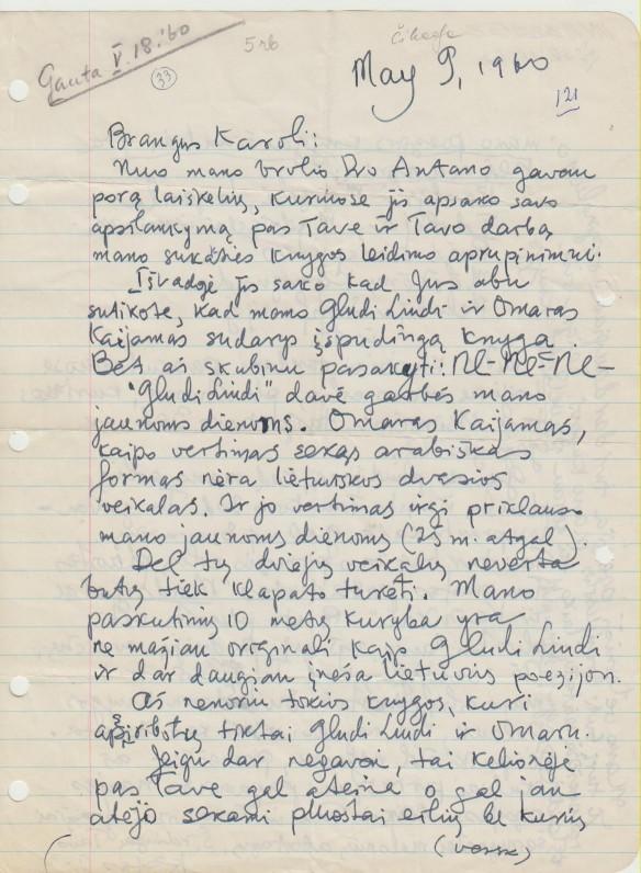 Laiškas K. Račkauskui-Vairui. 1960 05 09