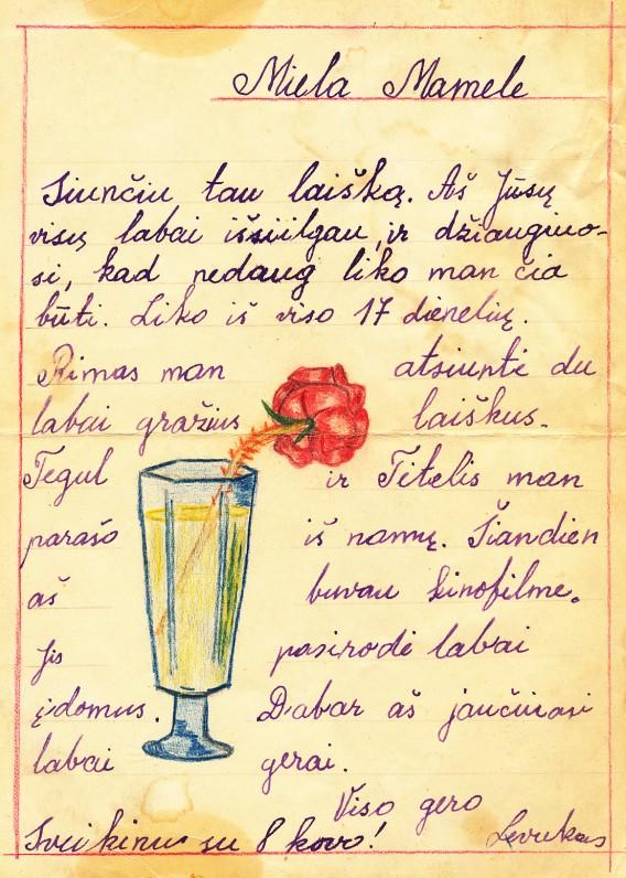 Leonido (Levuko) laiškas mamai iš sanatorijos. Apie 1957 m.