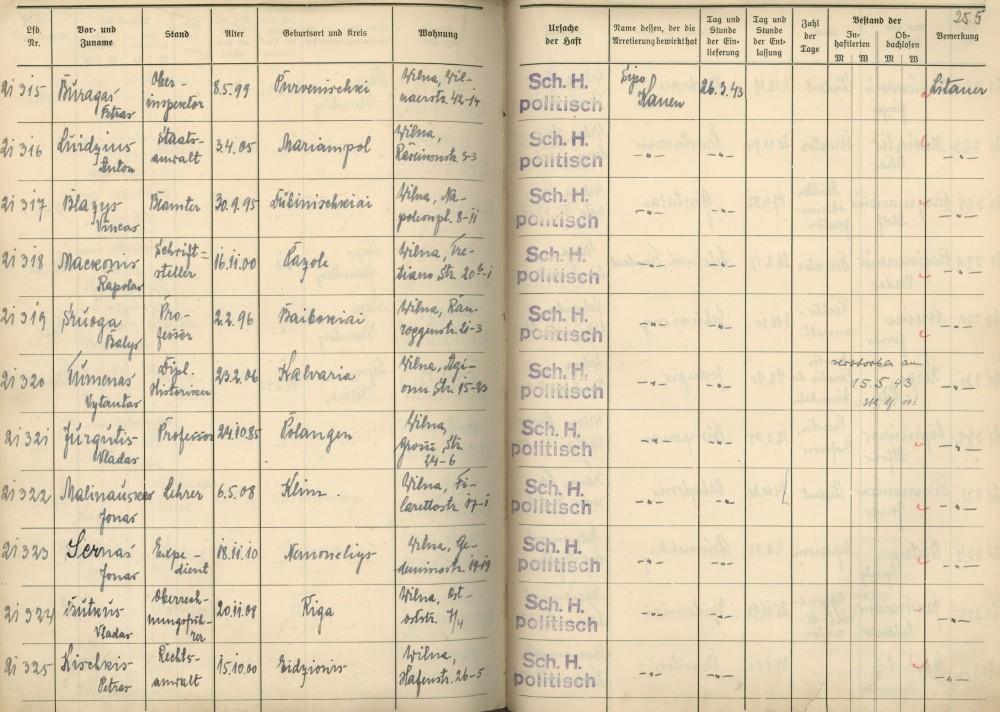 Lietuvių kalinių registracijos knygos fragmentas