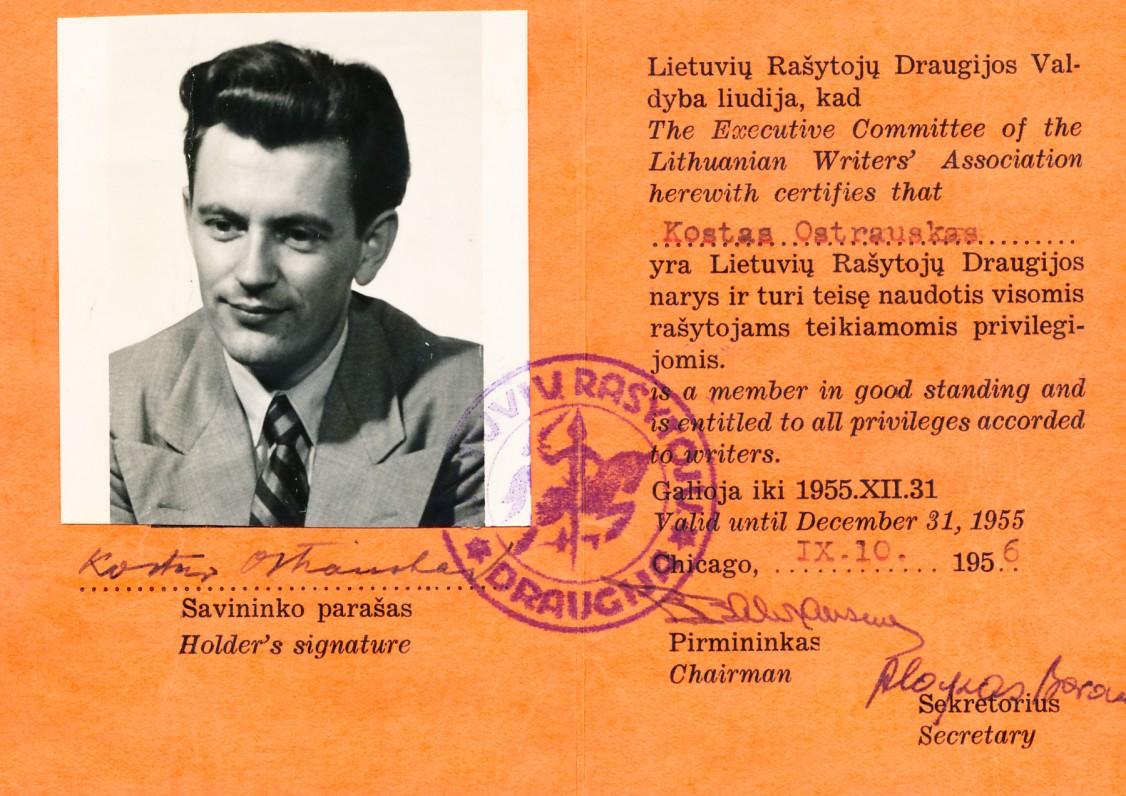 Lietuvių rašytojų draugijos pažymėjimas