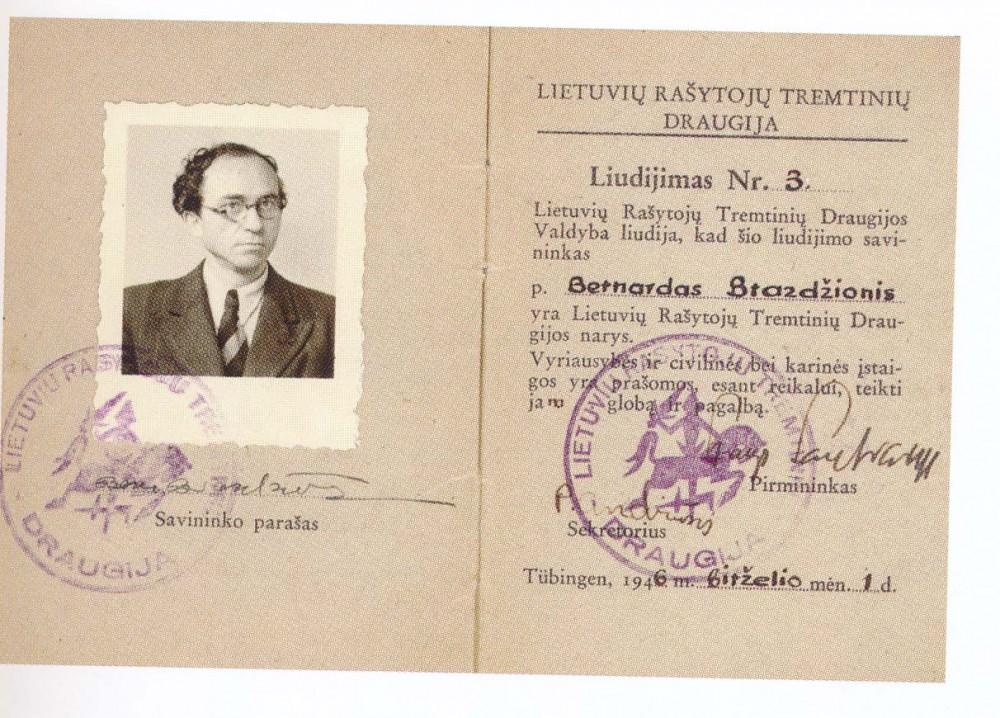 Lietuvių rašytojų tremtinių draugijos liudijimas Nr. 3, išduotas Bernardui Brazdžioniui 1946 m.