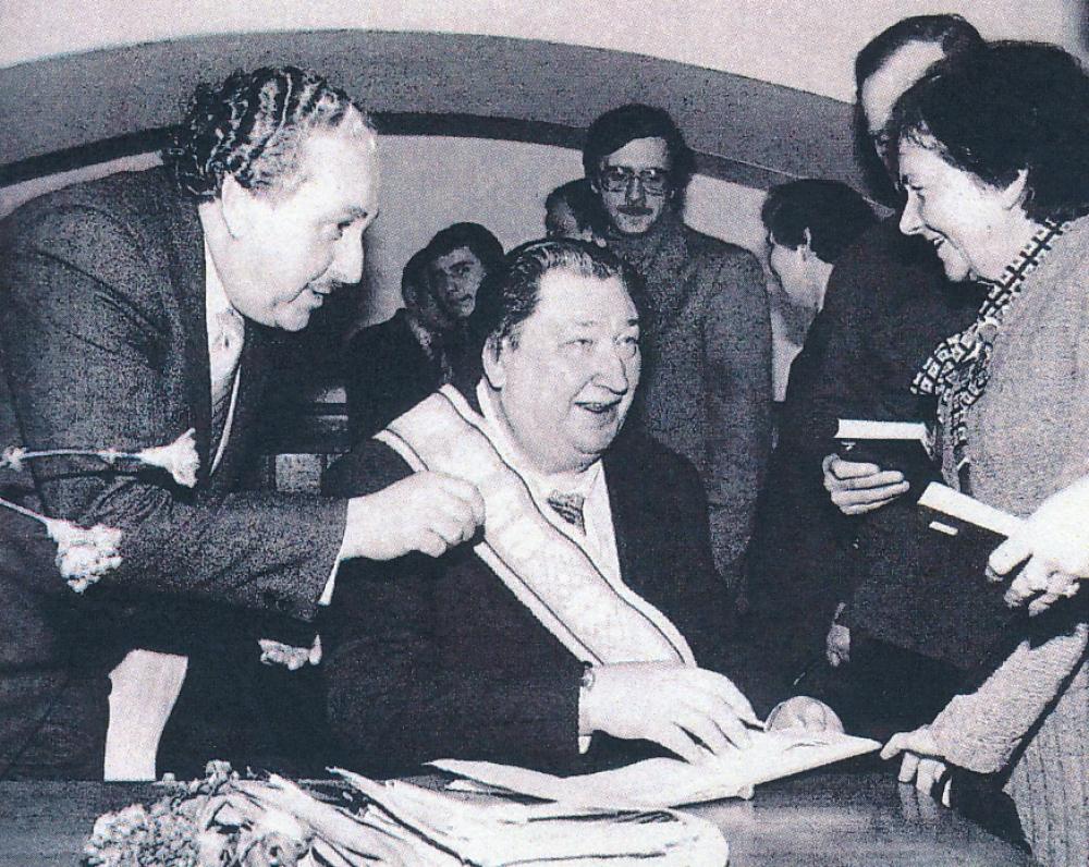 Literatūros muziejuje minima V. Misevičiaus 60 metų sukaktis. 1984 m. vasaris. Fotografas Algirdas Kairys