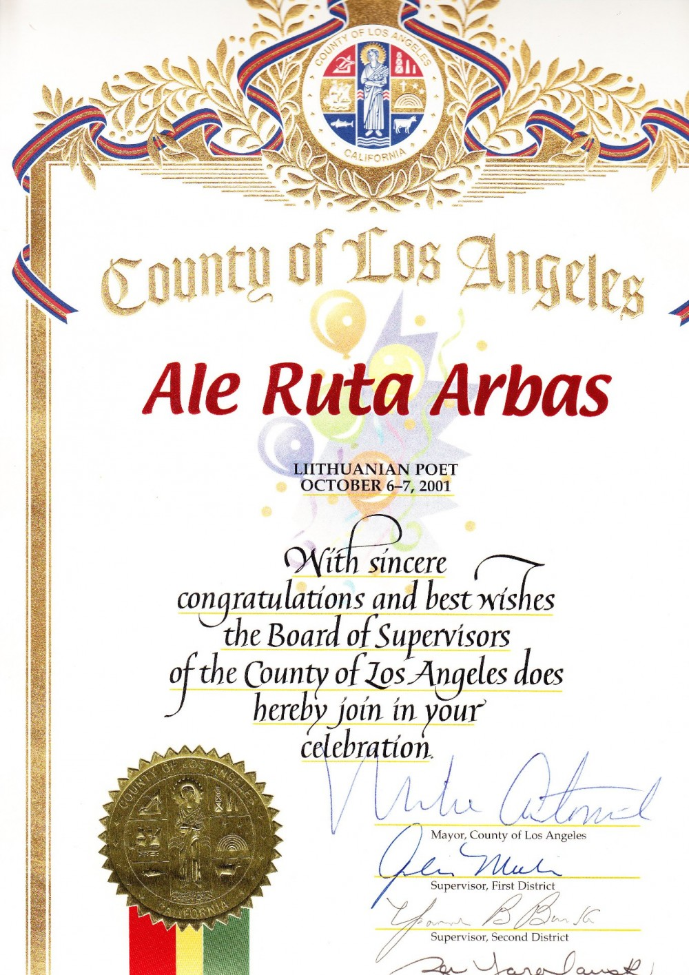 Los Andželo mero padėkos raštas Alei Rūtai