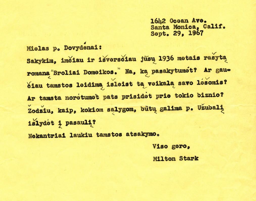 M. Starkaus laiškas Liudui Dovydėnui