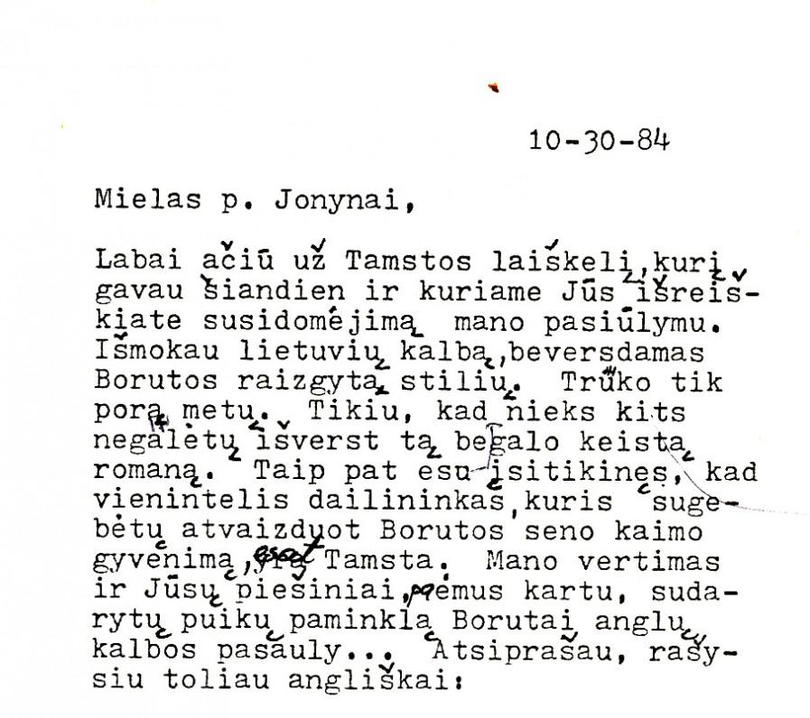 M. Starkaus laiško V. K. Jonynui fragmentas