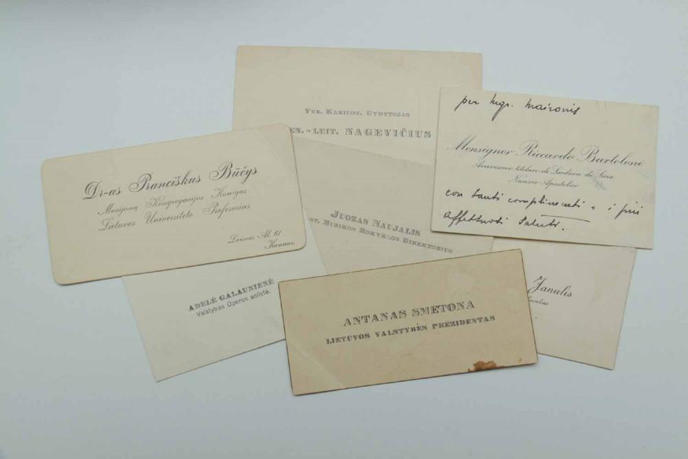 Maironio svečių vizitinės kortelės