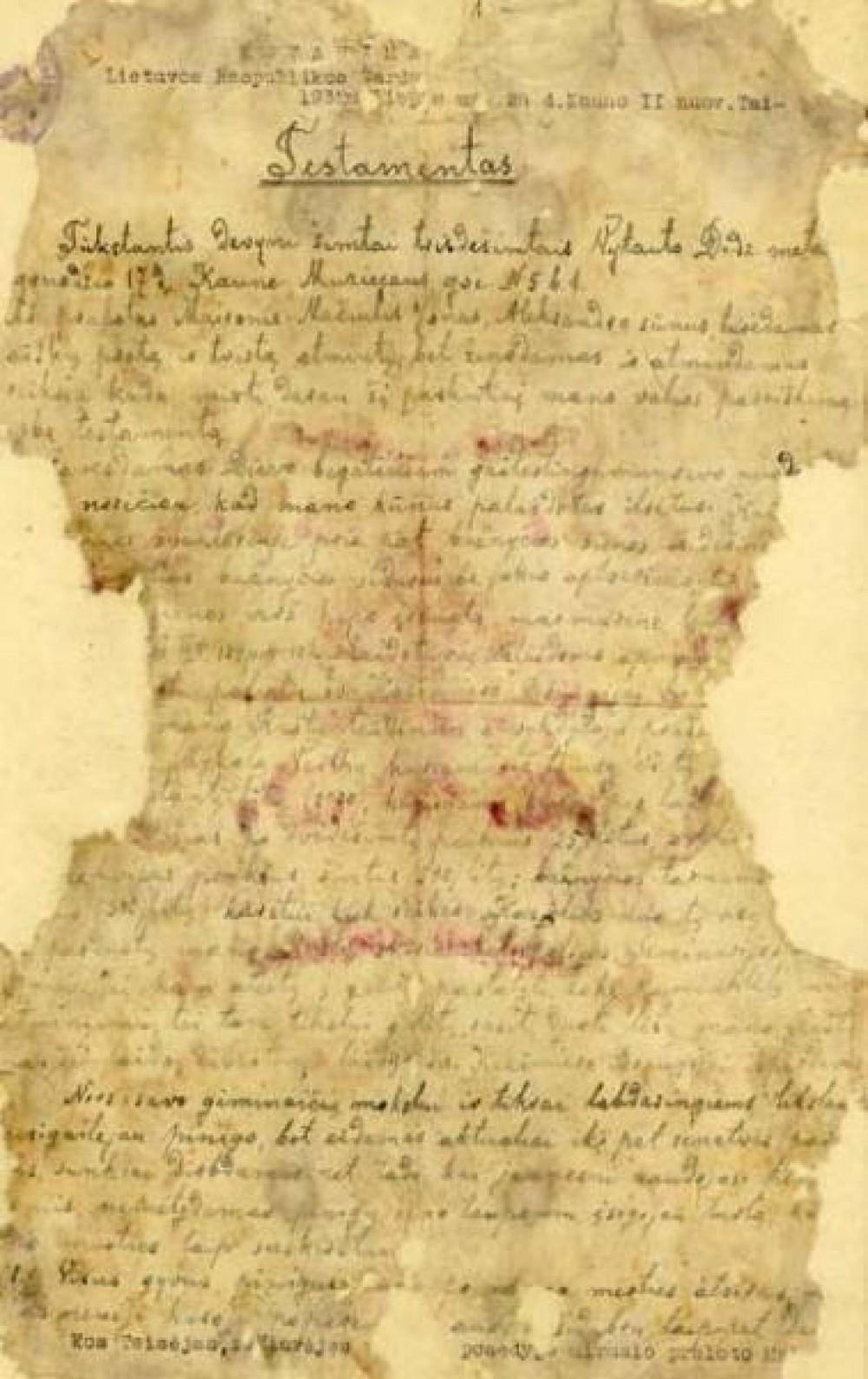 Maironio testamento fragmentas. Kaunas. 1930 m. gruodžio 17 d.