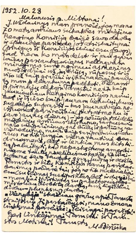 Mykolo Biržiškos laiškas M. Starkui