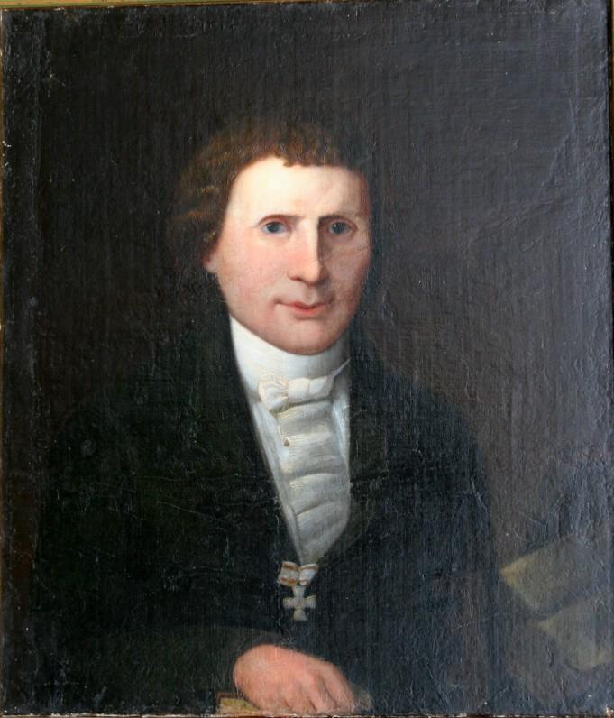 """Nežinomo XIX a. dailininko tapytas pirmojo K. Donelaičio """"Metų"""" leidėjo Liudviko Rėzos portretas"""