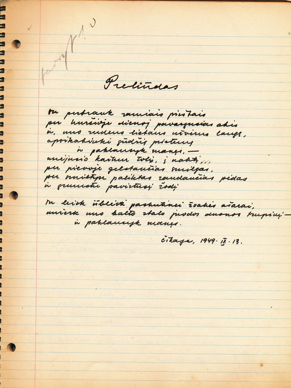 Niekada nepublikuotas K. Ostrausko rankraštinis poezijos rinkinys