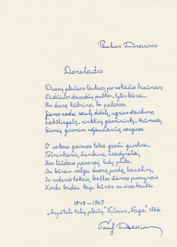 "P. Drevinio eilėraščio ""Donelaitis"" rankraštis"