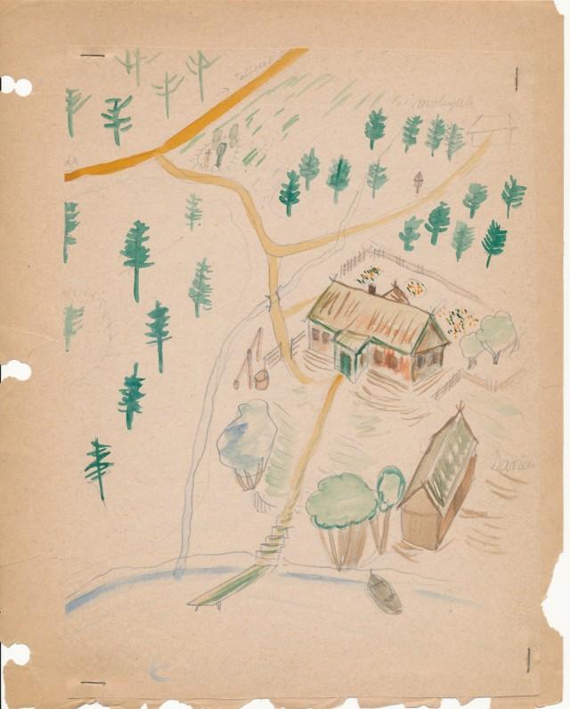P. Jurkaus piešta jo tėvų sodyba Žemaičių Kalvarijoje