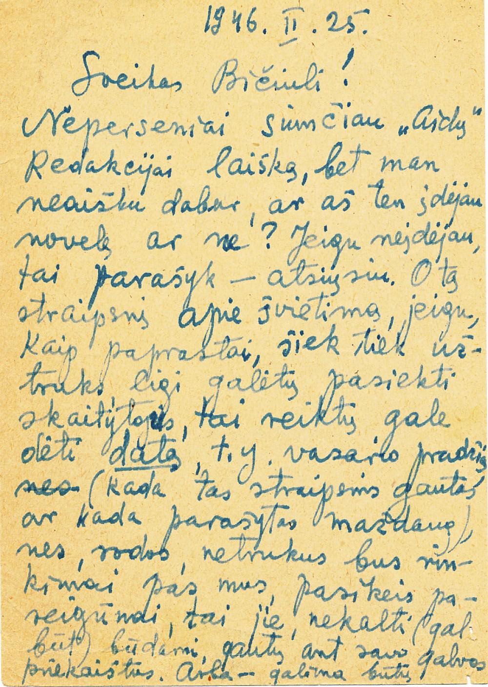 P. Orintaitės atvirlaiškis K. Bradūnui. 1946 m.