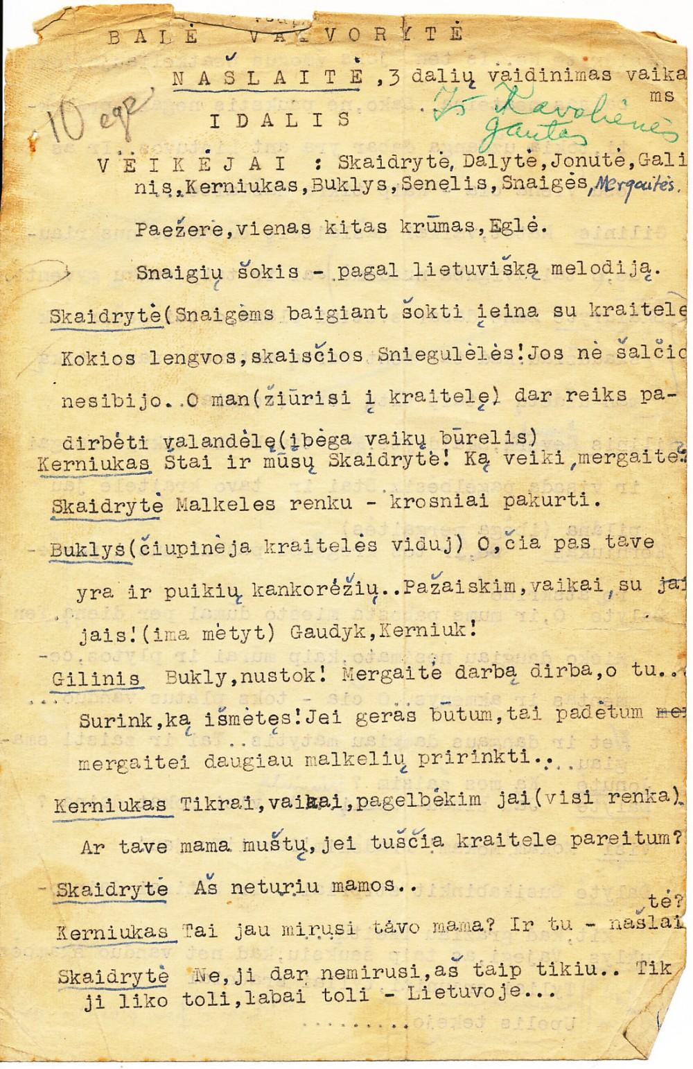 P. Orintaitės mašinraštis su taisymais