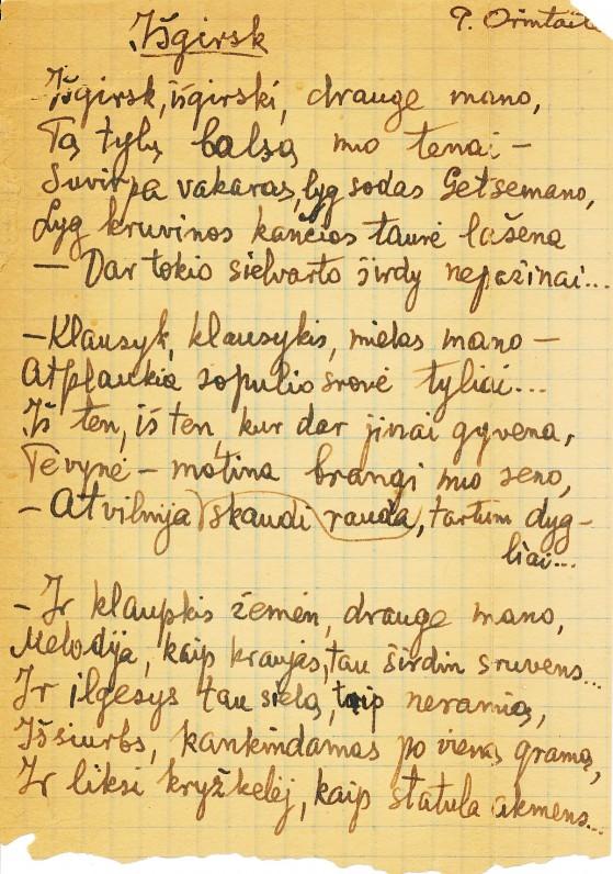 P. Orintaitės rankraštis